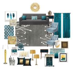 Image result for teal, navy and gold living room