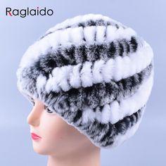 Genuine Rex Fur pompones Snow Cap Sombreros de Invierno para Las Niñas Gorro de Piel Verdadera Del Conejo Que Hace Punto Skullies Gorros Sombreros de Las Mujeres LQ11169
