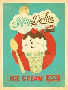 """Softy Delite Ice Cream - <img alt="""""""" src=""""file:///Users/joelanderson/Library/Caches/TemporaryItems/moz-screenshot.png"""" />Now you can add a nostalgic touch to your favorite chill spot when you decorate with this delighfully delicious print! Created to look like an authentic advertising print from the 1950s, this design is perfect for any home, dorm or office wall!<br />"""