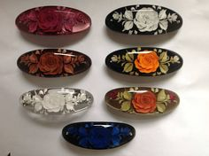 Hand made resin blue flower engraved hair clip barrette - more colours available