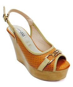 This Camel Peep-Toe Wedge is perfect! #zulilyfinds