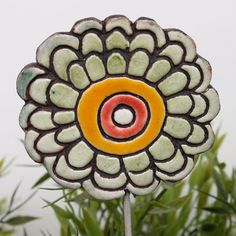Marigold+plant+stake++abstract+garden+decor++flower+by+TORIART,+€15.00