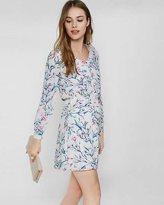 Floral Print Button Front Elastic Waist Dress | Express