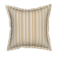 Serama Throw Pillow featuring Pretty Shabby Chic Beige Stripes by thatsgraphic | Roostery Home Decor