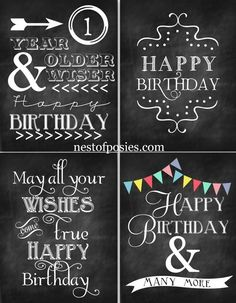 Happy Birthday Chalkboard Printables via Nest of Posies Love as a easy decoration to easily  make the home festive for a special someone.