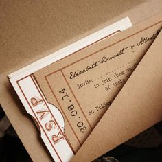 Inside the invitations.. your invite, RSVP and other details, presented in a beautiful kraft brown ticket wallet