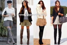 Thigh High Boots with Skater Skirt