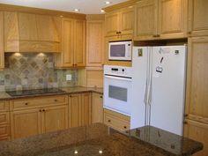 Oak Kitchen with White Appliances | OAK KITCHEN CABINET POLISH ETC