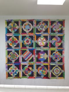 """~I love the colors in Mary Burton's version of Jen Kingswell's """"Circle Game Quilt""""."""
