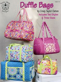 Inspired Picture of Handbag Sewing Patterns Handbag Sewing Patterns Duffle Bags Sewing Pattern Book Cindy Taylor Oates Beginner Sewing Projects, Sewing For Beginners, Sewing Tutorials, Sewing Tips, Sewing Ideas, Easy Sewing Patterns, Bag Patterns To Sew, Pattern Sewing, Duffle Bag Patterns