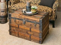 If you can't find a coffee table that matches your decor, opt for an old trunk or chest to fill in as both storage and decorative space.