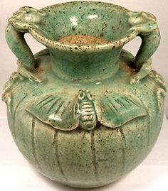 Pristine 19thC Antique Chinese Fanciful Ceramic Salamander Bat Motif Vase