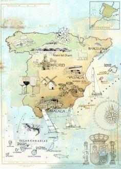 #Landkarte #Spanien. Gute Reise! Buen Viaje.