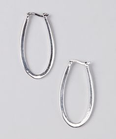 Nyla Star Sterling Silver Oval Hoop Earrings