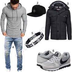 Männeroutfit mit grauem Amaci&Sons Hoodie, schwarzer Phoenix Cap, Bolf Winterjacke, Merish destroyed Jeans, Ostan Edelstahlarmband und Nike Schuhen.