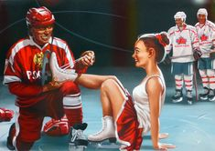 Have a nice day , Hockey boys! Pin Ups Vintage, The Sporting Life, Pulp Fiction Art, Pulp Art, Art Through The Ages, Pin Up Posters, Soviet Art, Nose Art, Russian Art