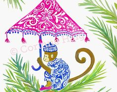 Monkey with Umbrella in Palm Tree Art Print. A fun-loving monkey is perched in a coconut tree wearing a stylish blue and white chinoisere print. His umbrella is painted in a bright pink chinoiserie pattern. Accented with palms leaves, this gouache print is so colorful and fun! A great pop of color of pink and indigo, for a safari chic look!