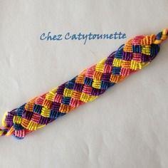 Bracelet brésilien plat à motif losange j