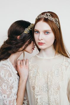 The Dorothea Crown in crystal antique gold and the Antonetta Circlet in crystal antique gold // Swarosvki crystal // Handmade in New York // Jennifer Behr