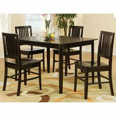 Curtis 5 Piece Dining Set by Woodbridge Home Designs. $431.51. Curtis Collection. Transitional Style. Rectangular Table Top Shape. Dark Espresso Finish. Slat back chairs. 5384 Features: -Take a fresh approach to casual dining.-Flanked by slat back chair in wooden seat. Includes: -Set includes dining table and four chairs. Color/Finish: -Dinette set in wedge finish. Collection: -Curtis Collection.