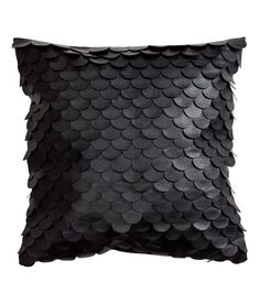 Scalloped Leather-look Cushion Cover