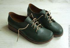 Купить Темно-зеленые ботинки из натуральной кожи - тёмно-зелёный, зеленый, обувь ручной работы