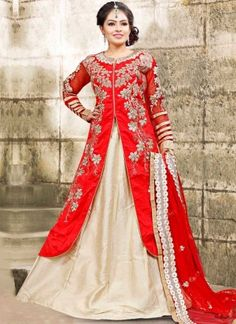 Red Beige Embroidery Work Bhagalpuri Silk Net Designer Anarkali Lehenga Suit