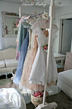 Shabby Chic Garment Rack. A DIY project maybe.