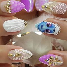 Disney Acrylic Nails, Disney Nails, Summer Acrylic Nails, Best Acrylic Nails, Disney Nail Designs, Purple Nail Designs, Acrylic Nail Designs, Cute Nail Designs, Little Mermaid Nail Art
