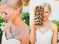 Amazing picture by Hello Studios! Vintage Statement broach necklace by Renee Pawele Bride.  Real bride Emily