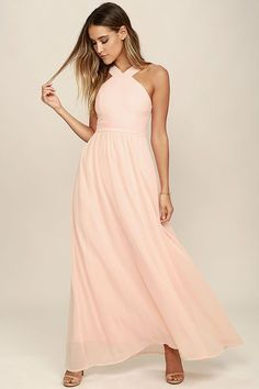 Beautiful Peach Dress - Maxi Dress - Halter Dress - $68.00