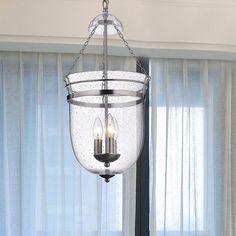 Nickel 3-light Lantern Chandelier, Black (Glass)