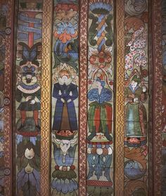 Crathes Castle, detail of painted ceiling in sewing room.  Scotland. Canmore Collection