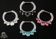 Steel gemmed crown septum clicker