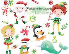 Elf characters clipart Christmas Clipart Instant by HandMek Christmas Clay, Diy Christmas Cards, Christmas Clipart, Modern Christmas, Elf Clipart, Cute Clipart, Elf Characters, The Originals Characters, Xmas Elf