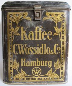 C. Wossidlo Coffee Vintage Tins, Vintage Coffee, Coffee Tin, Tin Cans, Coffee Packaging, Old Ads, German, Monogram, Canning