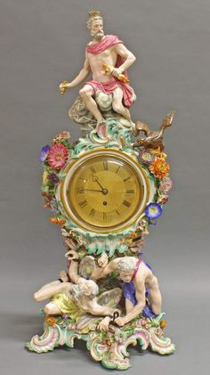 Referred Prunkpendule, Meissen, swords, mid 19th c., 1st quality, model number 1047, Zeus with eagle and Kronos by Hephaestus struck against a rock, cambered case of plastic flowers caresses, rocaillierter base, polychrome and goldstaffiert, guilloche dial and movement plate Ogston & Bell, on board additional disclosure Davies Street Berkeley, 72 cm high