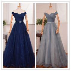Prom Gown, Prom Dresses,Royal Blue Evening Gowns,Beaded Party