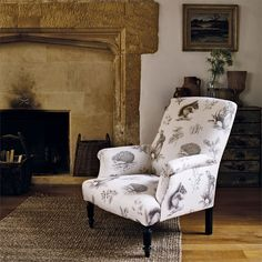 Sanderson Fabric - Squirrel & Hedgehog (225521)   Upholstered in Squirrel and Hedgehog, this charming printed fabric depicts the prettiest small wild British animals; a squirrel, rabbit and hedgehog, all set amongst sprays of natural British flora; acorns, catkins and blackberries.