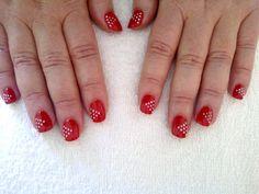 "Gel Polish (ProGel) overlay, with simple ""poka dots"" design. Dots Design, How To Do Nails, Gel Polish, Overlays, Nail Designs, Simple, Nail Desighns, Gel Nail Varnish, Nail Design"