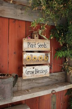 Items similar to Plant Seeds Grow Blessings 3 piece Garden Sign on Etsy – Gardening for beginners and gardening ideas tips kids Garden Crafts, Garden Projects, Outdoor Projects, Diy Signs, Wood Signs, Outdoor Signs, Garden Signs, Planting Seeds, Yard Art