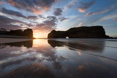 landscape photo of hole in the wall in dramatic sunrise colours Sunrise Colors, Earth Photos, Kwazulu Natal, Landscape Photographers, Landscape Photos, Photo S, South Africa, Coast, Ocean