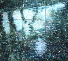 "ONE BEGINS TO GLIMPSE NONDUALITY:  Robert Spellman at the ARTISANS' GALLERY.  Robert Spellman: Boulder Creek iii, acrylic on canvas, nine panels, 96"" x 120"""