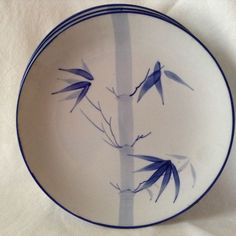 Oriental Blue and White Salad and Dinner plates hand painted Bamboo set for 4 & WEDGWOOD Grand Gourmet 8 accent plates 9 7/8