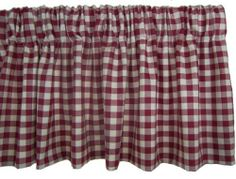 Rlf Home Comet Check Valance, Red by RLF HOME. $29.99. 3-Inch rod pocket for 2-1/2-inch continental or regular curtain rod. Fits window up to 48-inch w flat, gather for smaller windows, multiples for larger ones. 50-Inch w by 14-inch l. Made in USA; dry cleaning recommended. 100-Percent cotton, 70/30 poly/cotton lining. Bold red and white check 100-percent cotton valance, lined with 3-inch rod pocket for use with 2-1/2-inch continental or standard rod. Fits window up... Kitchen Window Treatments, Small Windows, Rod Pocket, Dry Cleaning, Curtain Rods, Valance Curtains, Home Kitchens, Larger, Red And White