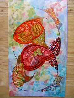 Fish Leaping by Ruby OpalTones   #doodles