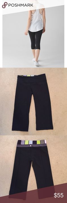 Lululemon Black Cropped Reversible Leggings super cute reversible green and gray pattern on one side and on the other, classic lulu black! • The bottom of the pants have a slight flare great for yoga and Pilates or everyday wear • first picture is not the exact pants • lululemon athletica Pants Ankle & Cropped