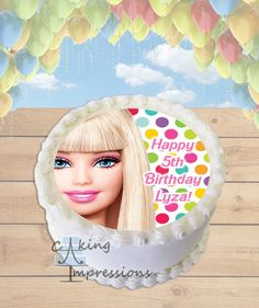 Barbie Doll Edible Frosting Image Cake Topper [ROUND]