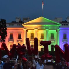 June 26, 2015 | The White House was lit up in rainbow colors Friday night to celebrate the Supreme Court's ruling on gay marriage - http://www.usatoday.com/story/theoval/2015/06/26/white-house-rainbow-gay-marriage/29374471/