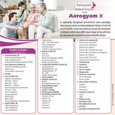 Health Checkup Package Aarogyam X profile which Consists of 129 Tests and which are all fundamental tests for screening of the health status Like Arthritis, Cardiac Risk Markers, Complete Hemogram,Diabetics, Iron, Lipid, Liver, Kidney, Thyroid, Vitamin, Pancreatic, Electrolytes, Hormone, Toxic Elements. Bun Creatinine, Kidney Test, C Reactive Protein, Lipid Profile, Vitamin Complex, Uric Acid, Hdl Cholesterol